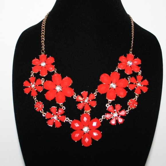 Beautiful gold and red bib necklace